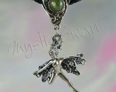 Frolicking Faerie, Spirit, With Stone on Scrollwork Bail in Sterling Silver