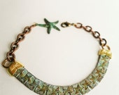 Chain Link Bracelet, Star Bracelet, Rustic, Sea Star, Green, Verdigris Patina