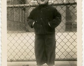 1940s Cute CITY GIRL Standing Near Fence - snapshot 489-A