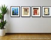 Door Photography Set, Save 20%, Door Photographs, Photo collection, 4 door pictures, Rustic Decor, Colorful doors, Modern Wall Art