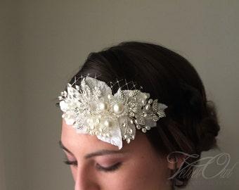 Bridal headband, crystal headband, jeweled headband, bridal jeweled headband, jeweled headpiece, beaded bridal veil, free mini tulle