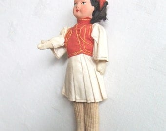 Vintage Greek Doll Traditional Costume Mid Century