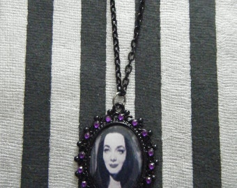 Morticia Addams The Addams Family rhinestone embellished oval cameo necklace
