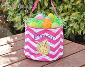 Personalized Easter Basket with Bunny Circle Design