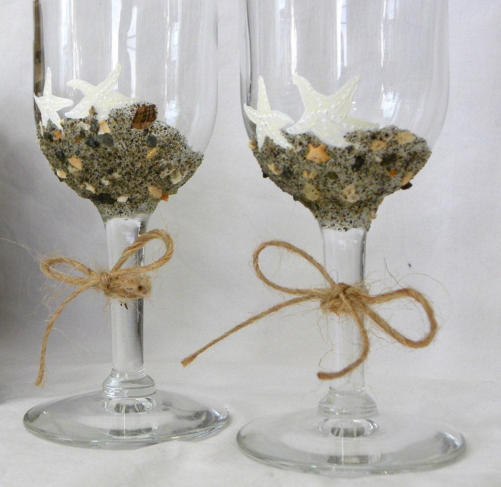 Beach Champagne: Wedding Flutes Champagne Glasses Starfish Beach Sand Bride