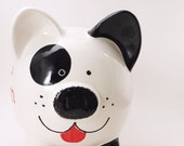 Black & White Puppy Dog Bank - Personalized Piggy Bank - Spot the Dog Bank - Puppy Piggy Bank - Pet Piggy Bank - with hole or NO hole