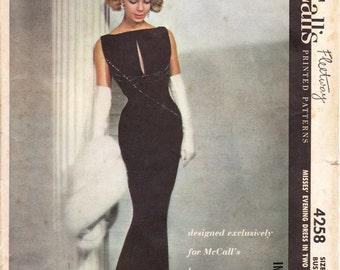 Pauline Trigere - McCalls 4258 - vintage 50s evening dress sewing pattern - bust 36