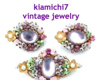 Lavender Glass Floral Seed Bead Miriam Haskell STYLE Pastel Beaded Flower Brooch Earrings Vintage Rhinestone Jewelry Set