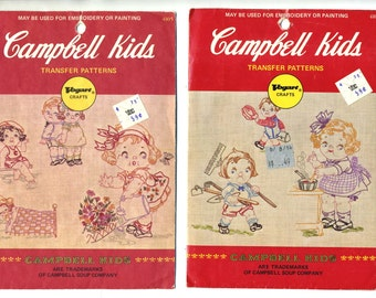 Vintage Set of Two Vogart Campbell Soup Kids Embroidery or Painting Transfers 4103 and 4105