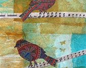 Fine Art Print of Original Mixed Media Bird Art Collage Always Remember to Sing