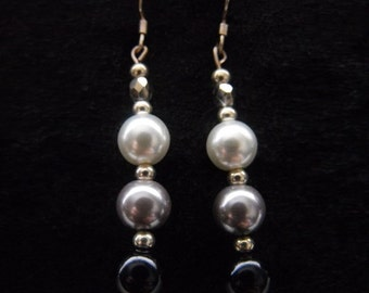 Monochrome 3 pearl drop earrings (black, grey and white) in silver