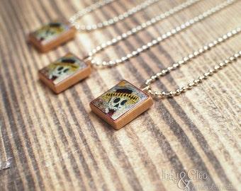 DAY of the DEAD Scrabble Pendant Necklace, Dia de los Muertos, Handmade Scrabble Tile Art Pendant, Wood Pendant, Skull Charm, Tiny Jewelry