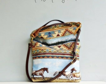 Wild Horses Tote Bag, Southwest Crossbody Purse, Southwestern Aztec Messenger Bag, Convertible Foldover Purse, Leather Tote Strap, Plus Size
