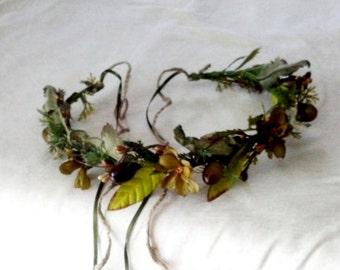 AmoreBride Olive Headdress artificial leafy hair wreath Greek Goddess Flower crown accessories bridal headpiece vine halo woodland wedding