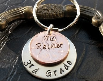 Penny Key Chain -  hand stamped penny, gift for Teacher,Personalized Gift, custom hand stamped penny, custom key chain