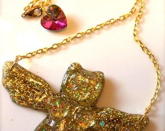 Gummy Bear Necklace - Gummy Bear Jewelry - Wing Necklace - Wing Jewelry - Resin Jewelry - Plastic Jewelry - Glitter Resin - Kitsch Jewelry