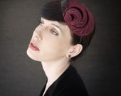 Burgundy Felt Headband/Fascinator with Feathers and Petal Stitching - Helix Series - Made to Order