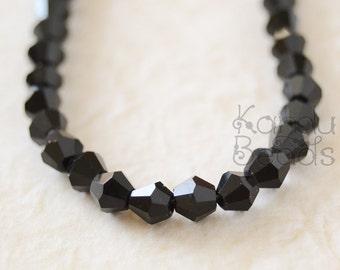 "Crystal Black Glass Bicone Bi Cone Beads 4mm 19"""
