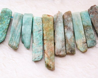 Russian Amazonite Blue Green with Brown  Irregular top drilled slab beads, stick beads