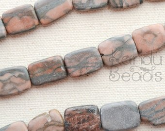 CLERANCE 50% OFF Red Tan Gray Horizontally Drilled Rectangle, Shape Jasper Beads