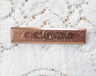 Ornate Embossed Antique Long Rectangular Bar Pin / Broach / Brooch, Gold Overlay, Waves / Wave Embossing, Flourishes