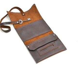 Leather Tobacco Pouch - Distressed Leather Tobacco Case - Steampunk Cigarette Case