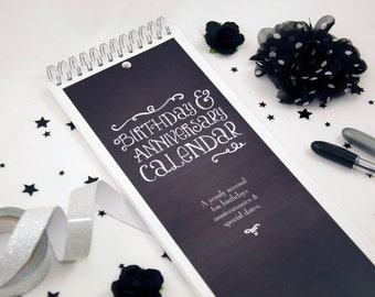Perpetual Birthday Calendar - Chalkboard Style - Forgetfulness is a Sign of Genius
