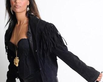 Vintage 80's Black Fringe Joan Jet Biker Chick Genuine Suede Jacket