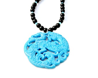 Jade Pendant Necklace, STATEMENT Necklace, Asian Chinese Jade, Goddess Necklace, Dragon Pendant Necklace by Mei Faith