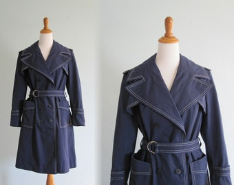 CLEARANCE Vintage 1970s Trench Coat - Chic Navy Blue Trench with White Top Stitching - 70s Navy Trench M