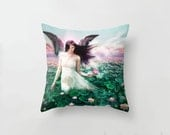 Lotus Faerie Water Nymph Cushion Cover, Pillow Slip Water Lilly Pond