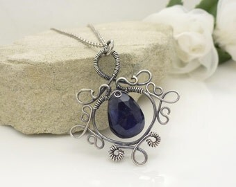 Sterling silver iolite necklace, dark navy blue wire wrapped oxidized silver pendant, gothic style water sapphire necklace