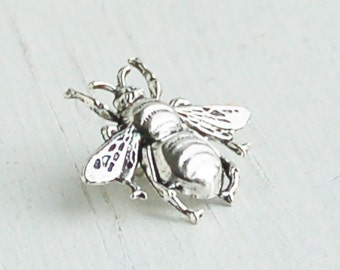 BEE Brooch Forest Creature Nature Study Honey Bee Vintage Style Silver Bumble Bee Lapel Pin Tie Pin Garden Wedding Tie Tack
