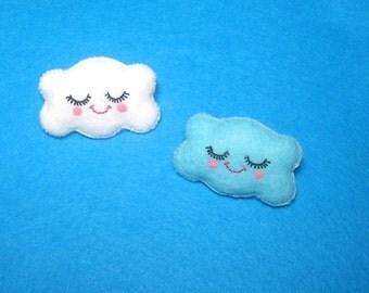 Cloud Brooch - Felt Plush Kawaii Pin - Cute Wearable Art - Happy Raincloud Brooch - Raincloud Plush - Kawaii Clouds