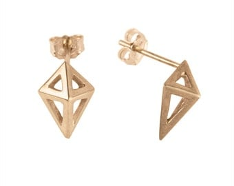 Small Prism Studs in Gold