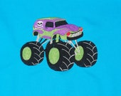 """Embroidered Iron On Applique- """"Skull Monster Truck"""""""