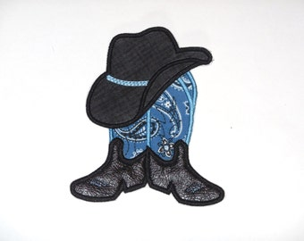 """Embroidered Iron On """" Cowboy Boot and Hat"""""""