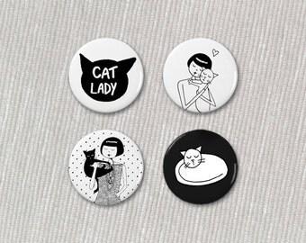 cat lady button set // 4 buttons