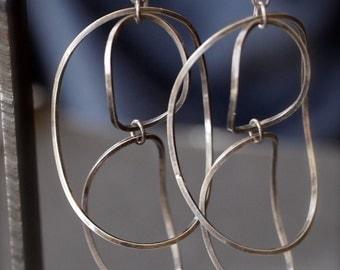 Large concave sterling silver hoop earrings