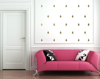 Pineapple Colored Vinyl Wall Decals (Metallic Gold, Mint, Black, Metallic Silver, Pink, Blue, Yellow, White, Other Colors Available)