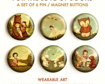 For The Love Of Books - Pinback Button Set, Magnets, Pinbacks, Pins, Set of 6, Cute, Book Lovers, Button Pack, Badge, Librarian, Teacher