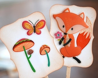 Pink Porcupines, Foxes and Owls, Oh My  - Cupcake Toppers