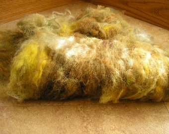 Wool Batt mixed fibers, in shades of green and brown, has some metallic fibers 1.8 ounces