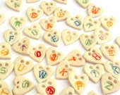 Personalised Button - Letter Button - Childrens buttons - Monogram Buttons - Initial Buttons - Heart Button - Ceramic Button - Craft buttons