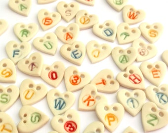 Letter Buttons - Initial Buttons - Personalised Button - Childrens buttons - Heart Button - Ceramic Button - Craft buttons - monogram button