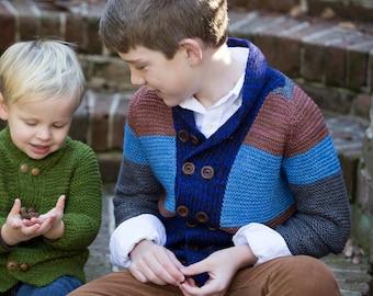 make your own Big Brother Cardigan (DIGITAL KNITTING PATTERN) for kids boy girl toddler child tween teen