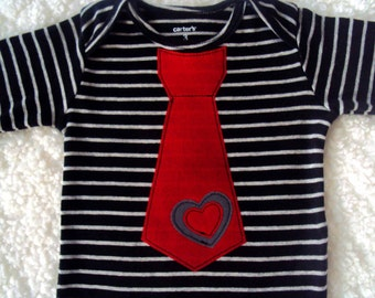 Baby Boy Valentine Tie Bodysuit-  Boys Valentine Shirt -Toddler Boy Valentines Day