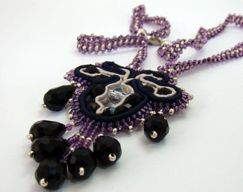 Navy Grey and Amethyst Soutache necklace, Fleur de Lis, Bead embroidered, black, silver, amethyst glass seed beads