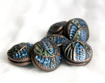 Handmade Iridescent Geometric Beads in Blue, Green, and Bronze