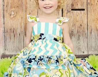 Fabulous Flutter Sleeve Dress with Apron - Girls - Floral Stripes - Navy, Aqua, Grey & Lime Green - Spring - Birthday - Party - Ruffles